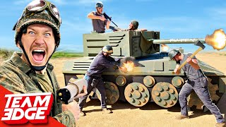 EUROPESE OMROEP | OPENN  | Soldiers vs TANK BATTLE! *We made a working TANK*