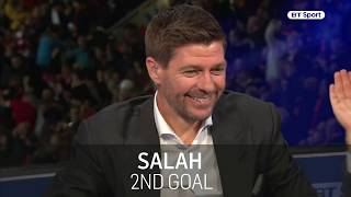 EUROPESE OMROEP | BT Sport | Liverpool legend Steven Gerrard reacts to Mohamed Salah's goals against Roma | 1524655943 2018-04-25T11:32:23+00:00