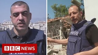 EUROPESE OMROEP | OPENN  | BBC reporters appear live from Israel and Gaza after 'barrage of rockets' - BBC News