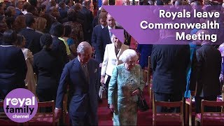 EUROPESE OMROEP | The Royal Family Channel | Royal Family departs opening of Commonwealth Heads of Government Meeting at Buckingham Palace | 1524131779 2018-04-19T09:56:19+00:00