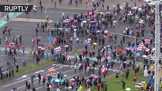 EUROPESE OMROEP OPENN Aerial view: Protesters take to s