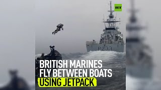EUROPESE OMROEP | OPENN  | British Marines test out a jetpack in the open sea